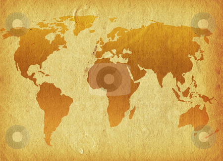 Grunge world stock photo, World map on a grunge background by Kirsty Pargeter