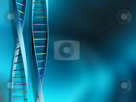 DNA strands stock photo, DNA strands on abstract background by Kirsty Pargeter