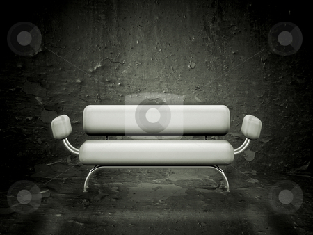 Grunge sofa stock photo, Contemporary style sofa against a grunge texture by Kirsty Pargeter