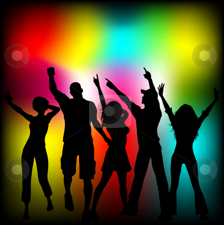 Disco time stock photo, Silhouettes of people dancing on colourful background by Kirsty Pargeter