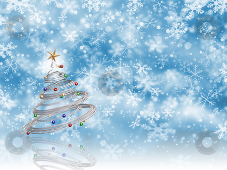 Christmas tree stock photo, Metallic Christmas tree on snowflake background by Kirsty Pargeter