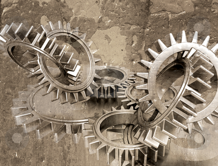 Grunge gears stock photo, Grunge style image of interlocking gears by Kirsty Pargeter