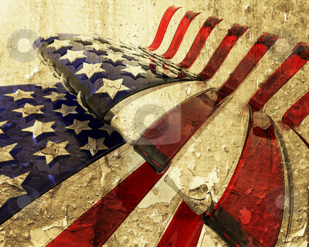 Grunge American flag stock photo, 3D render of a glass American flag with grunge effect by Kirsty Pargeter