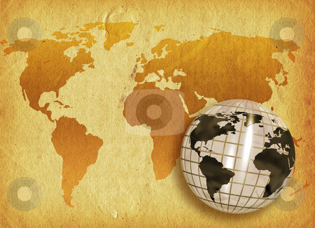Grunge world stock photo, 3D render of a globe on a grunge world map background by Kirsty Pargeter