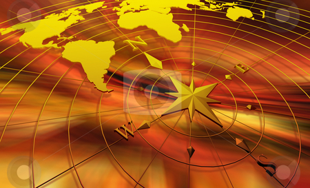 Compass with world map stock photo, Compass with world map on abstract background by Kirsty Pargeter