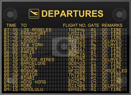International Airport Departures Board stock photo, International Airport Departures Board by Nuno Andre