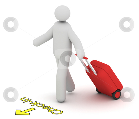 Check-in stock photo, Man with a hard trolley case going to check-in by Nuno Andre