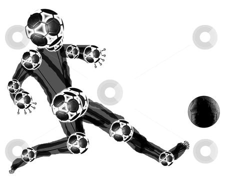 Black mascot stock photo, Black football manikin kicking ball by Reinhart Eo