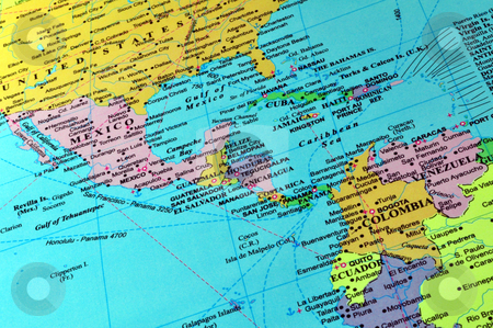 Central America and Caribbean map stock photo, Countries in Central America and the Caribbean by Fernando Barozza