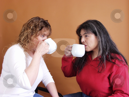 Coffee with Friend stock photo, Two women drinking out of large coffee cups, facing toward eachother. by Robert Gebbie