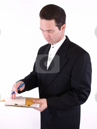 Man in Suit with Clipboard stock photo, Adult male in a suit holding a clipboard with envelopes and a pen. Isolated on a white background. by Robert Gebbie