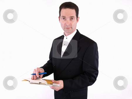 Bidding at the Auction stock photo, Adult male in a suit holding a clipboard with envelopes and a pen. Isolated on a white background. by Robert Gebbie