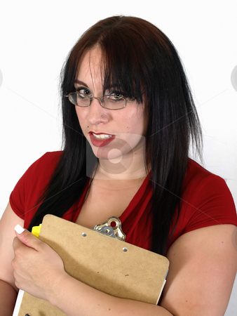 Woman with Clipboard stock photo, Pretty young pierced adult woman with a clipboard on a white background. by Robert Gebbie