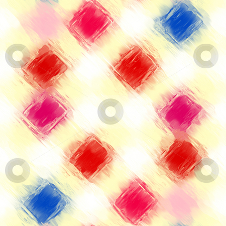 Painted checkered pattern stock photo, Abstract texture of red and blue oil paint blocks by Wino Evertz