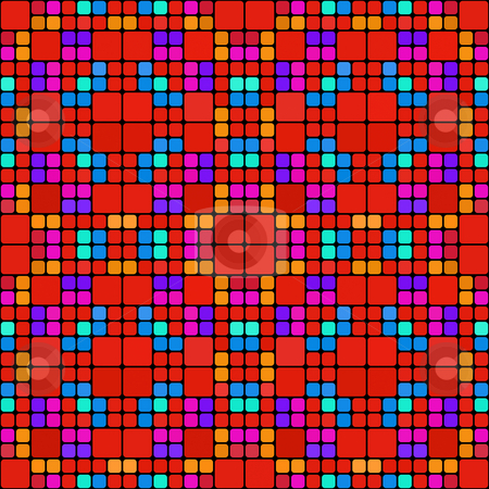 Red squares pattern stock photo, Seamless texture with bright repeating blocks and black mortar by Wino Evertz