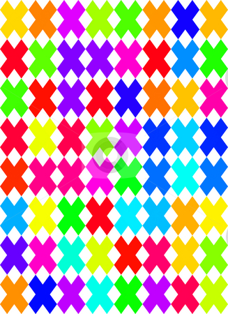 Colored cross pattern stock photo, Seamless texture of vibrant colored cross shapes on white background by Wino Evertz