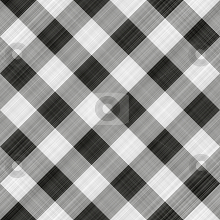 Black table cloth stock photo, Seamless texture of black, grey and white blocked tartan cloth by Wino Evertz