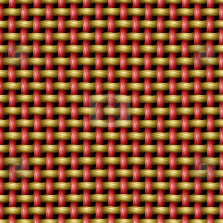 Woven threads stock photo, Seamless texture of 3d weave work in red and yellow by Wino Evertz