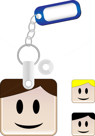 SquareHead_Keychain_Boy stock vector clipart, Keychain with head and tag where you can insert your name by Augusto Cabral Graphiste Rennes
