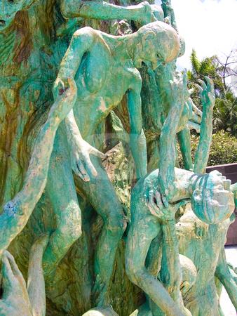 Holocaust memorial Miami Beach stock photo, Statues in the Miami Beach Holocaust memorial by Jaime Pharr