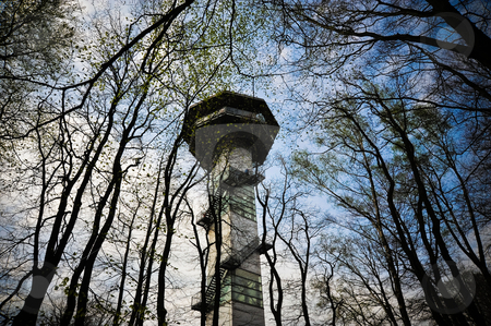 Observation tower stock photo, Observation tower at the point where Germany, The Netherlands and Belgium meet by Jaime Pharr