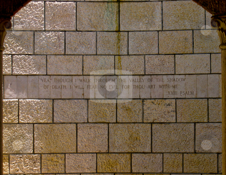 Scripture on stone wall stock photo, Psalms 23 on stone wall of the Miami Beach Holocaust Memorial by Jaime Pharr
