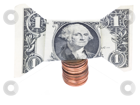 Curreny on White Background stock photo, Bow tie dollar and stack of pennies on a white background by John Teeter