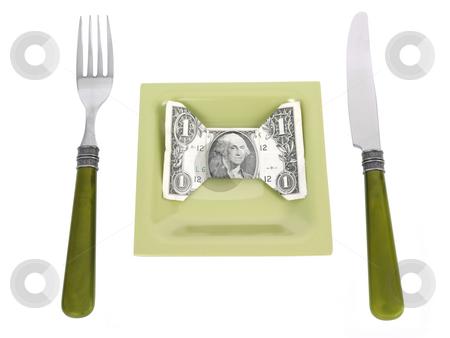 Money Dinner stock photo, Money Dinner concept on a white background by John Teeter