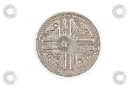 Close-up of a colombian coin  isolated, clipping path. stock photo, Close-up of a colombian coin with indigenous Quimbaya civilization figurine, isolated over white, with clipping path. by Pablo Caridad