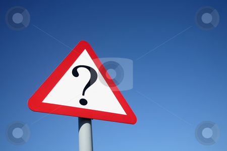 Question mark on a road sign. stock photo, Question mark on a road sign. by Stephen Rees