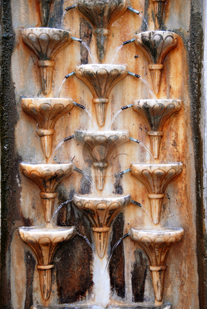 Wall fountain stock photo, Old stone wall rusty fountain texture outdoor by Julija Sapic