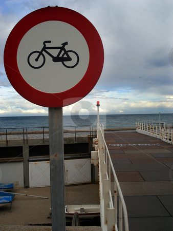 No bicycle stock photo, Cycling forbiden traffic signal on a harbour by Marc Torrell