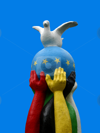Peace on earth stock photo, Sculpture about diversity union and peace by Marc Torrell