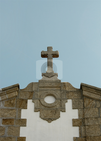 Church cross sky stock photo, Church stone cross on a sunny day by Marc Torrell