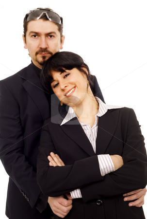 Serious business couple stock photo, Woman and man business couple serious white isolate by Marc Torrell