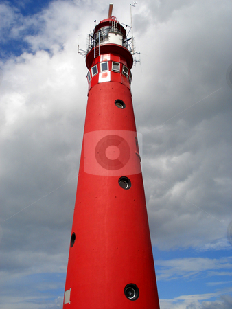 Lighthouse stock photo, Red lighthouse and blue sky by Marc Torrell