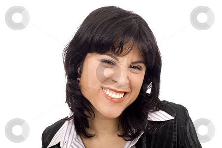 Disgusting girl stock photo, Disgusting woman face white isolate by Marc Torrell