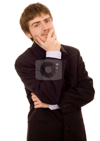 Business man stock photo, Young business man white isolate by Marc Torrell