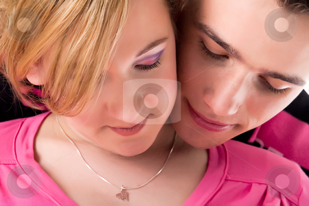Our faces close-up stock photo, Young lovely caucasian couple expecting their baby by Frenk and Danielle Kaufmann