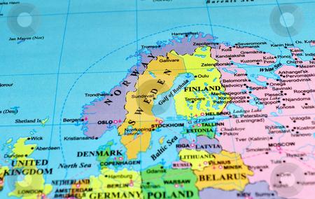 Scandinavian Peninsula map stock photo, Scandinavian Peninsula and Baltic Shield, color map by Fernando Barozza
