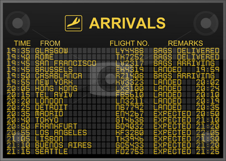 International Airport Arrivals Board stock photo, International Airport Arrivals Board by Nuno Andre