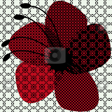 Halftone flower stock vector clipart, Halftone red flower design on soft green background by Karin Claus