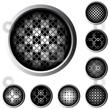 Halftone web buttons stock vector clipart, Web buttons with halftone raster pattern in black and white by Karin Claus