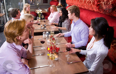 Restaurant Dinner stock photo, A group of people waiting for their dinner in a restaurant by Corepics VOF