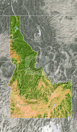 Idaho, shaded relief map. stock photo, Idaho, shaded relief map. Colored according to natural appearance, with major urban areas. Includes clip paths for the state boundary and land areas. 