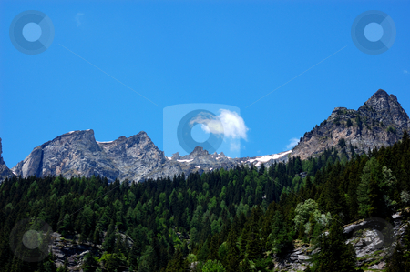Mountain peaks in summer blue sky stock photo, Mountain peaks in summer blue sky (Val Formazza, Italy) by ALESSANDRO TERMIGNONE