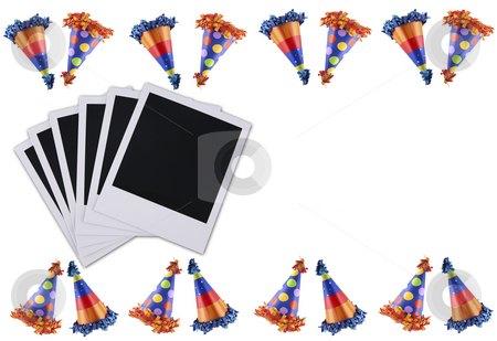 Party hat picture stock photo, Holiday party hats bordering old polaroid film blanks by Stacy Barnett