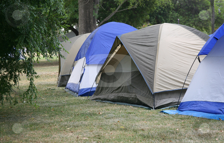 Tent campground stock photo, Four tents in a row on a forest campground by Stacy Barnett
