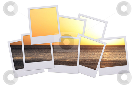 Polaroid sunset 2 stock photo, Beautiful polaroid film with sunset isolated on white background by Stacy Barnett