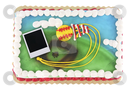 Polaroid picture cake stock photo, Softball or baseball theme cake with old polaroid film blank by Stacy Barnett